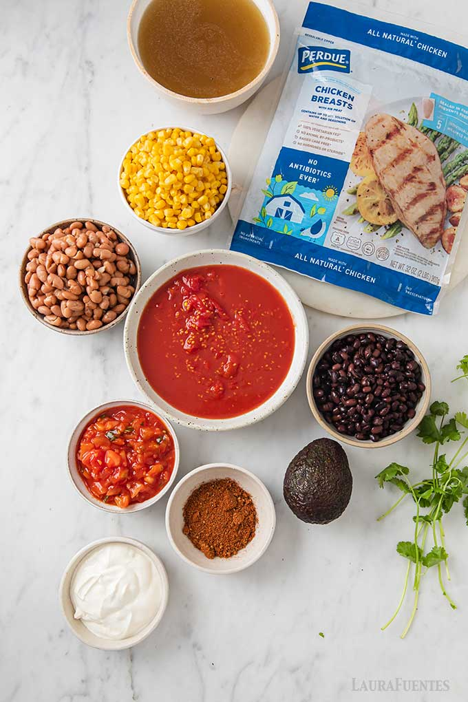 ingredients on countertop for chicken taco soup