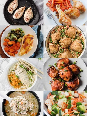 chicken recipe images in a collage