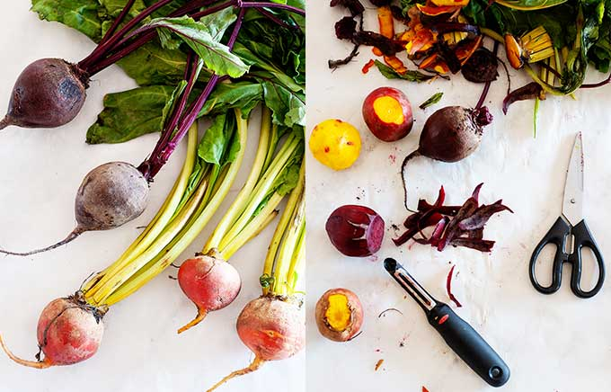 chopping and peeling fresh beets for roasting