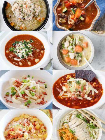collage image of different soups