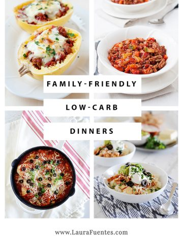 photo collage of low carb dinners