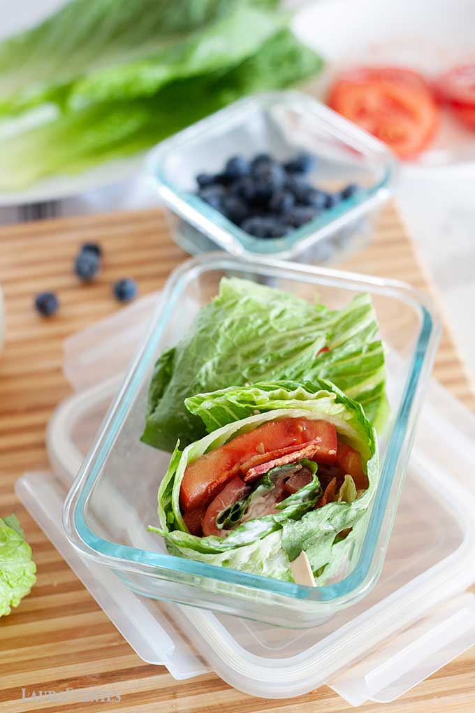 BLT lettuce wrap in a glass lunch container