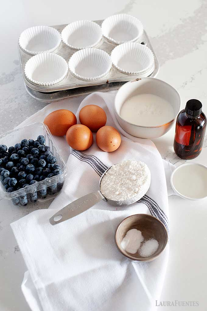 ingredients for coconut flour muffins laid out on countertop
