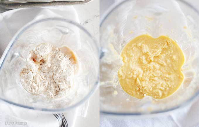 side by side image of making coconut flour muffins in large bowl