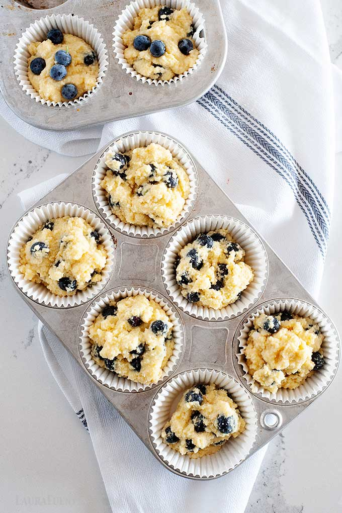coconut flour muffin batter in tins