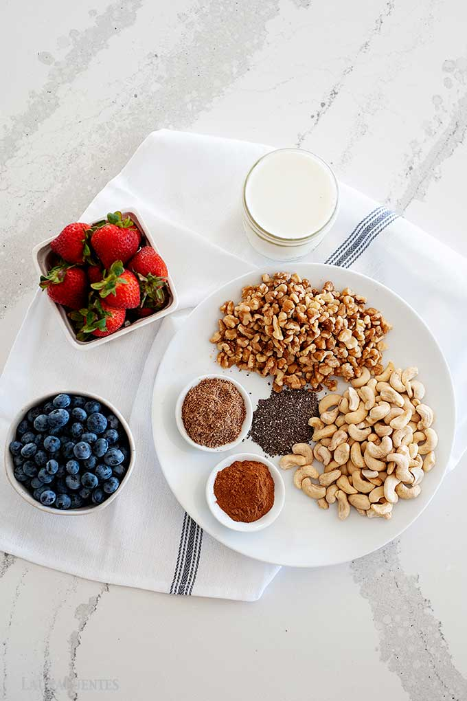 ingredients for paleo oatmeal laid out on a plate