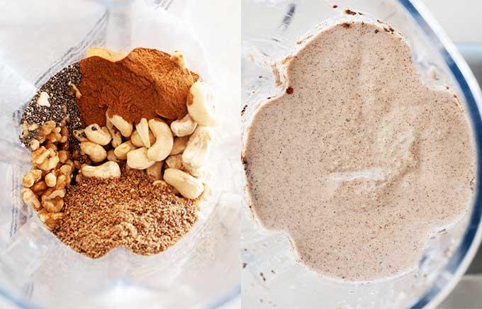 side by side of blender with paleo oatmeal before and after blending