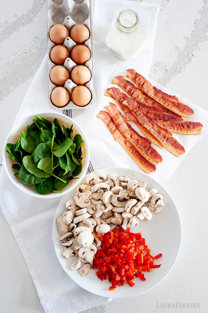 ingredients for spinach bacon frittatas laid out