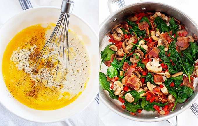 side by side image of eggs in a bowl and vegetables cooking in a pan