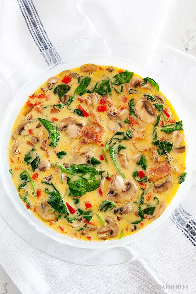 frittata in a baking pan prior to cooking
