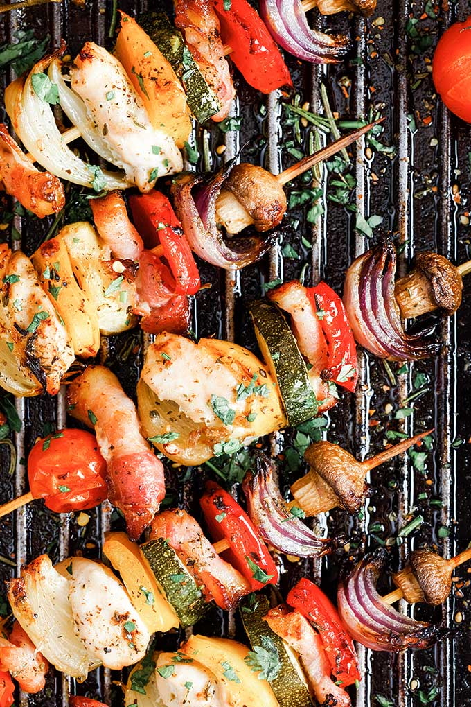 chicken and vegetable skewers on the grill