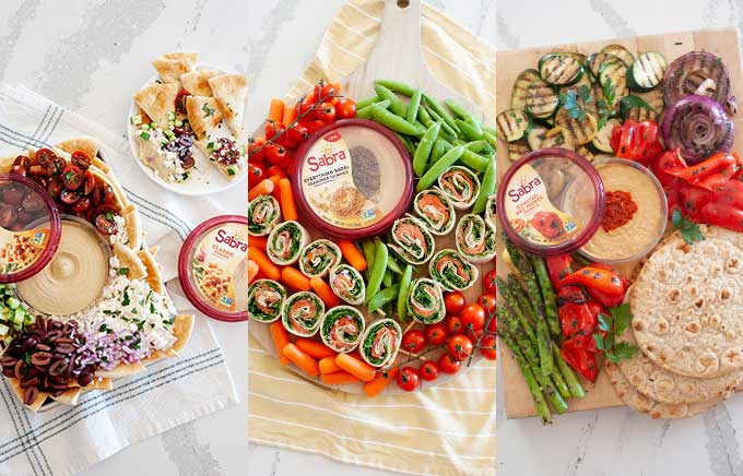 side by side photos of hummus platters