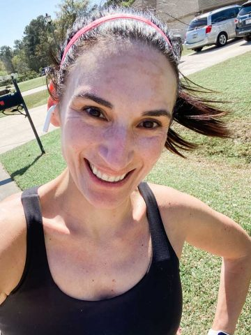 Laura with sunscreen on pre-run