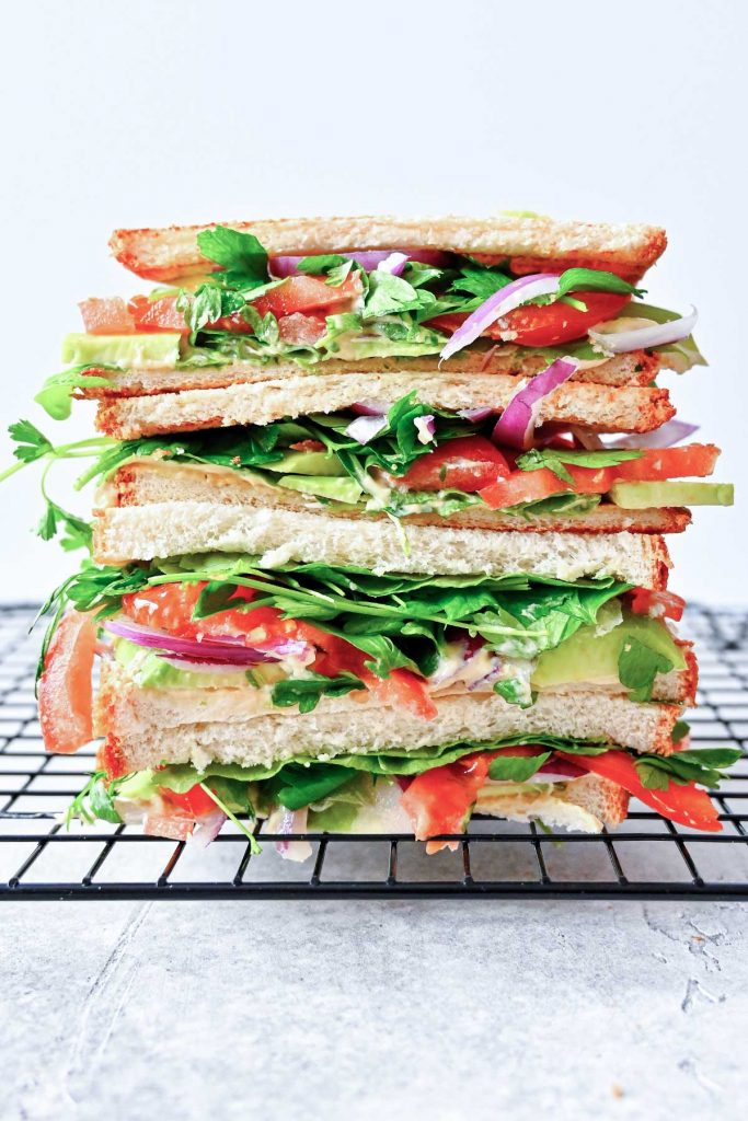 stack of salad sandwiches