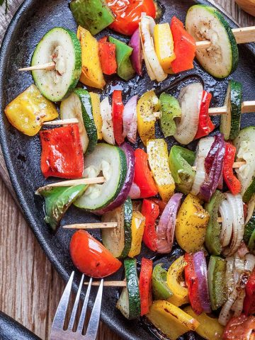 veggie kabobs on a large plate