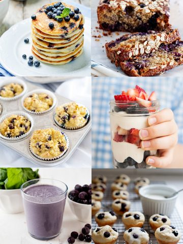 photo collage of blueberry recipes