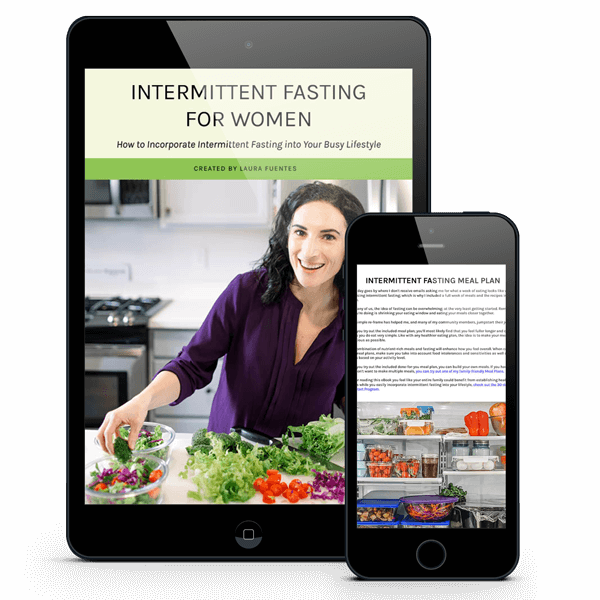 intermittent fasting ebook displaying on a tablet and a phone screen
