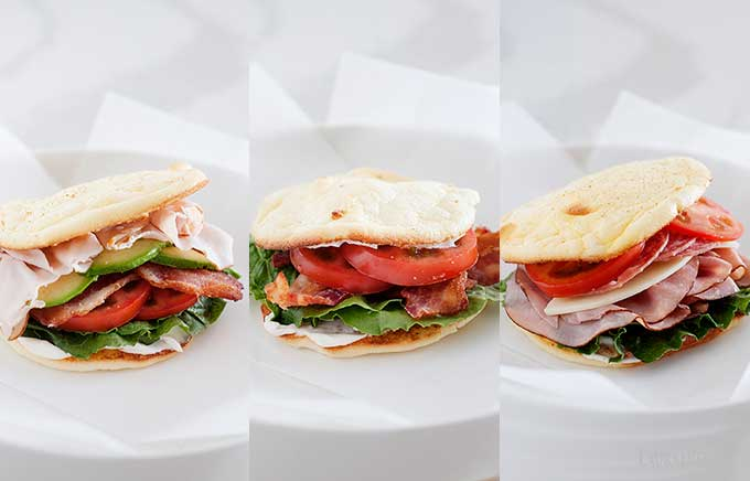 three side by side photos of low carb sandwiches