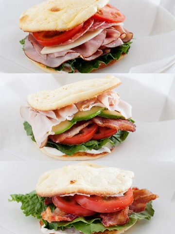 three low carb sandwiches