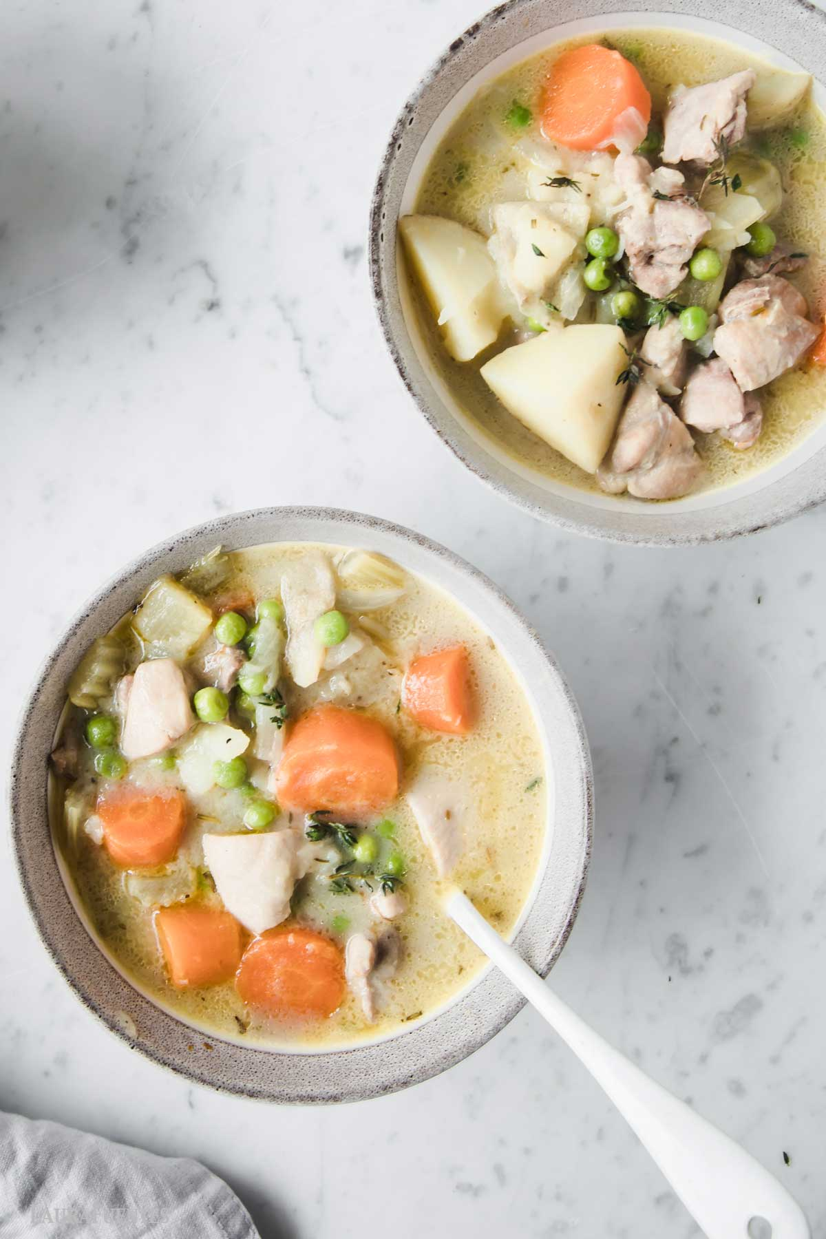 two large bowls of chicken stew