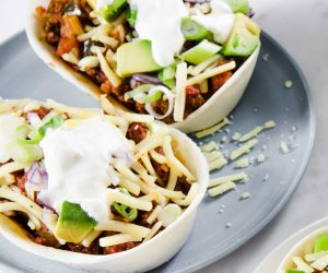 two chili taco boats on a plate