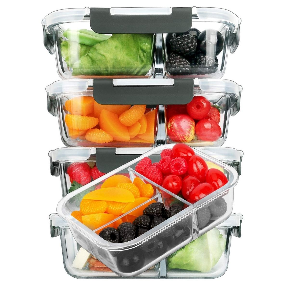 glass containers with three compartments