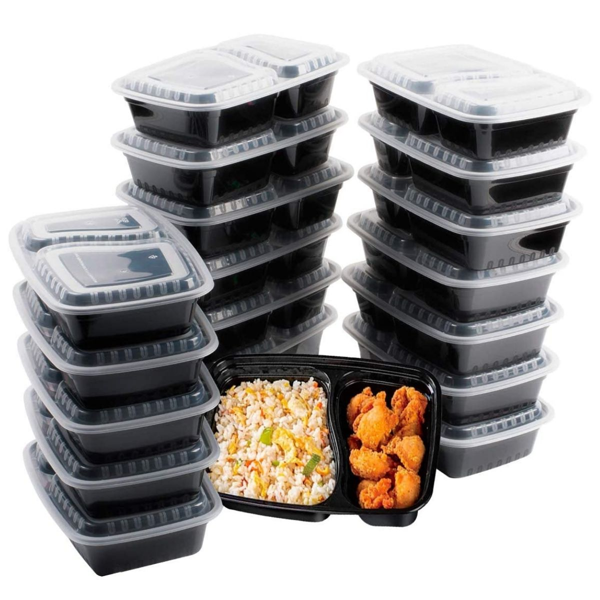 large stack of plastic meal prep containers