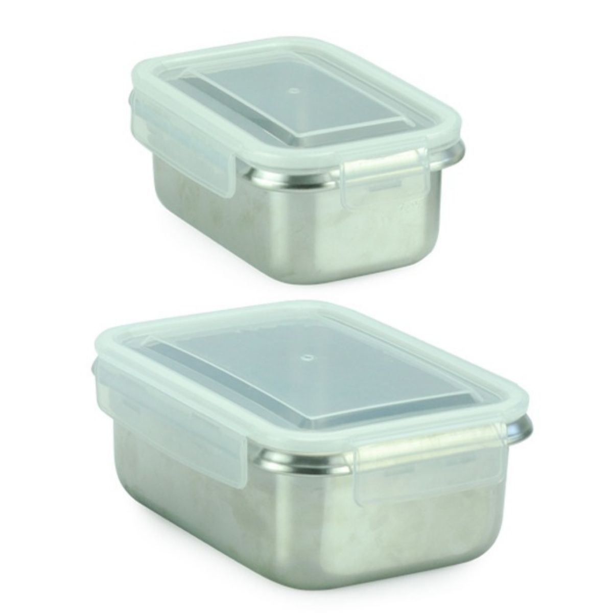 two stainless steel lunch containers