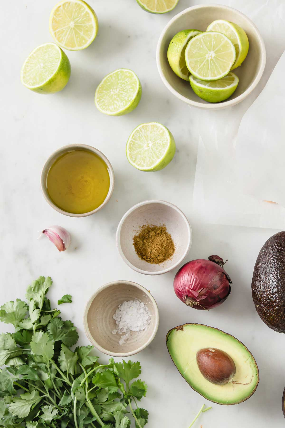 ingredients laid out for avocado salsa