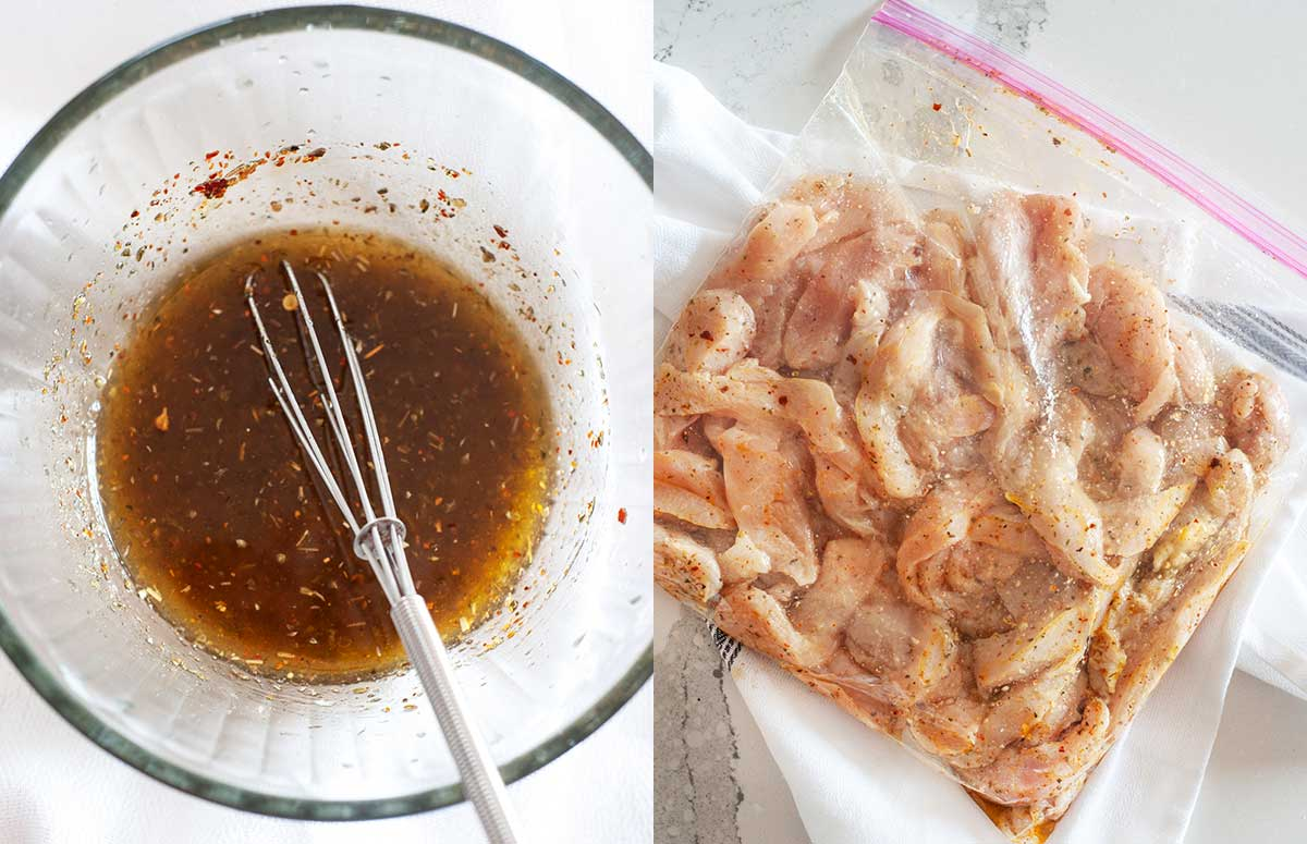 side by side of fajita marinade and chicken marinating in zip bag