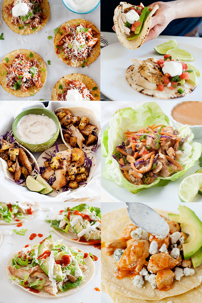 collage of 6 different types of chicken tacos