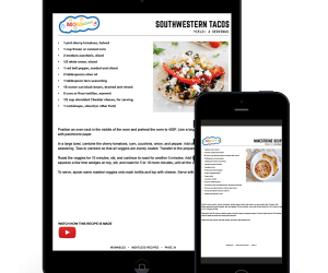 tablet and phone with meatless meal plan recipes on the screens