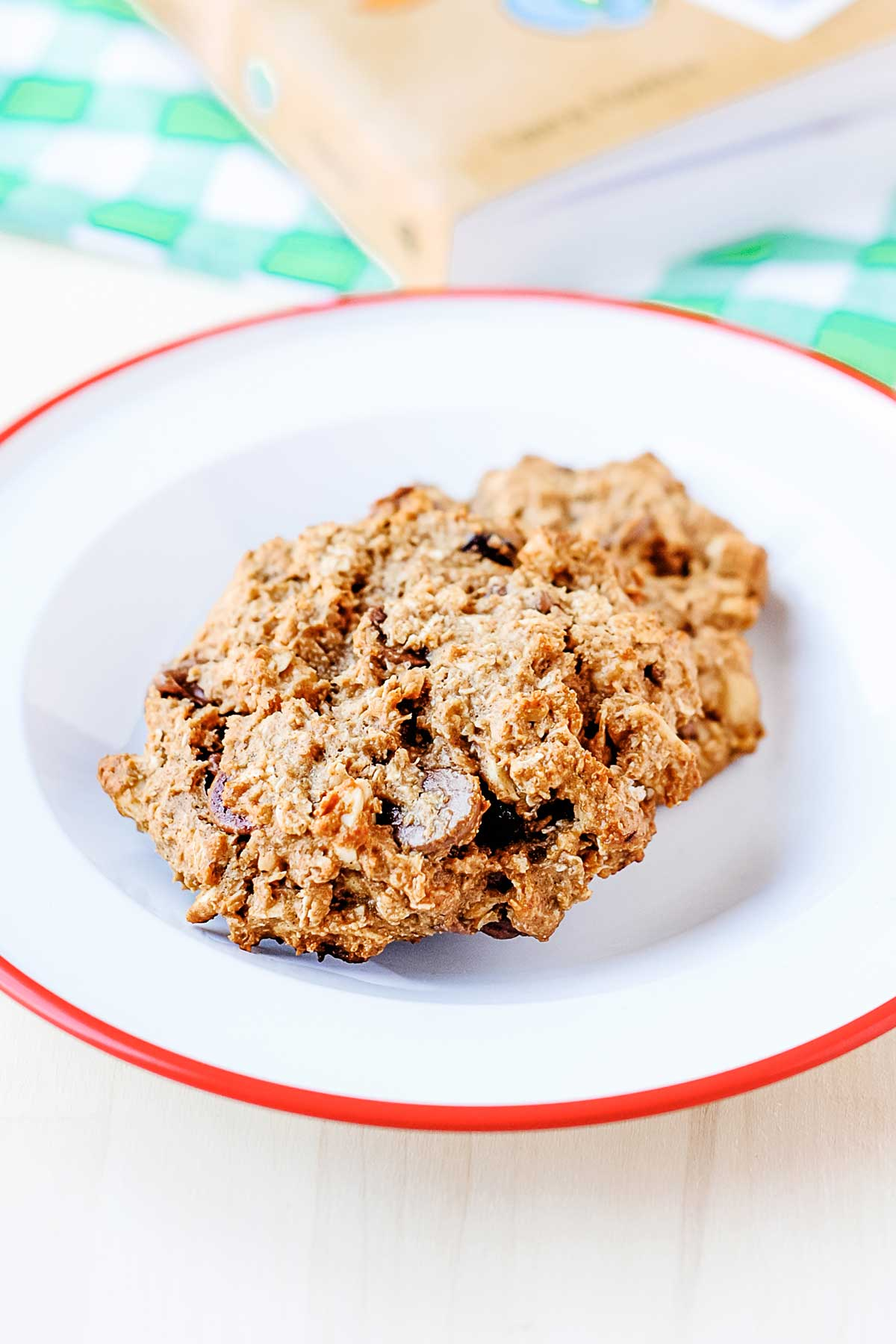 two breakfast cookies on a plate