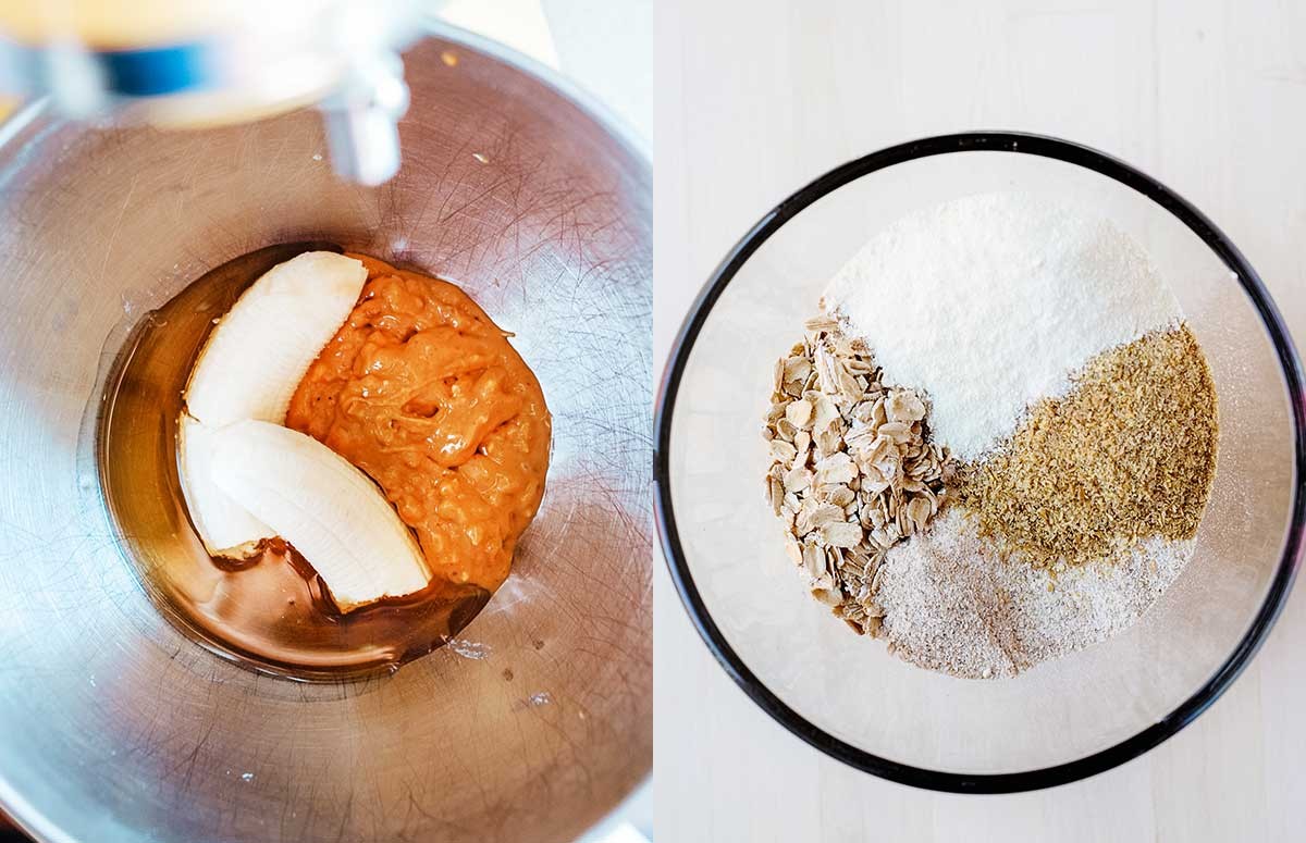 side by side photo of mixing wet and dry ingredients for breakfast cookies