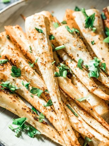 plate of roasted parsnips