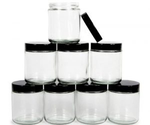 small pyramid of glass round jars for overnight oats