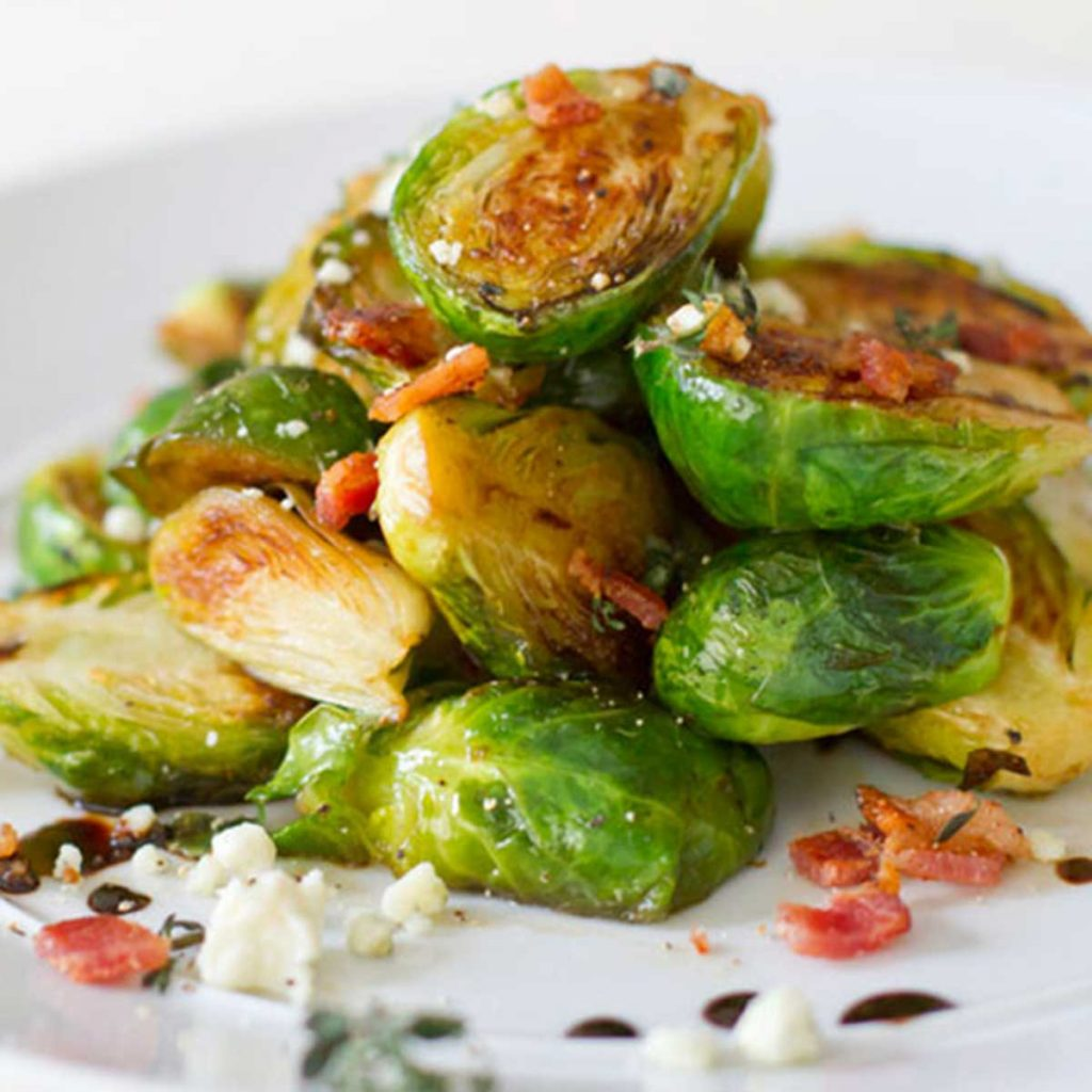 carmelized burssels sprouts with bacon