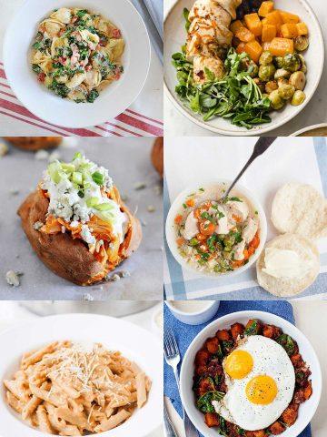 collage of six fall dinner ideas