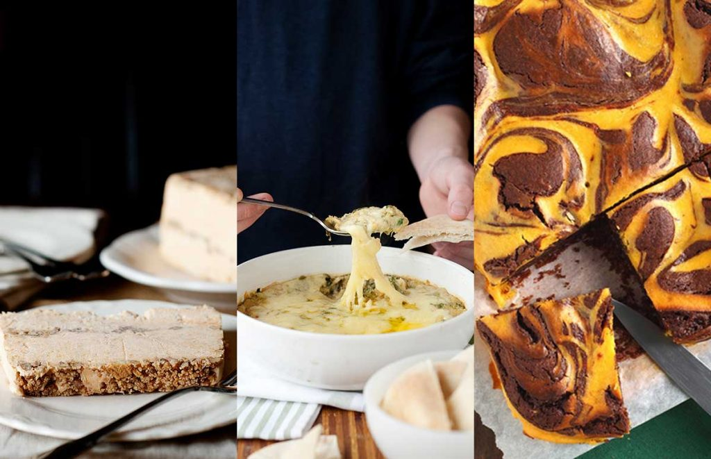 side by side photos of fall entertaining recipes